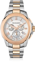Trussardi T01 Gent Stainless Steel and Rose Gold PVD Men's Chronograph Watch
