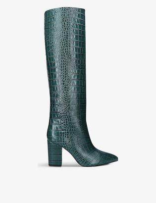 Paris Texas Block-heel croc-embossed leather knee-high boots