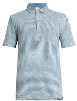 Faherty Striped-cotton polo shirt