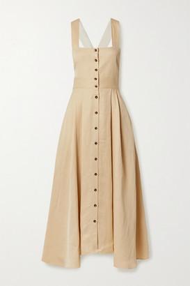 La Ligne Pleated Linen-blend Midi Dress - Ecru