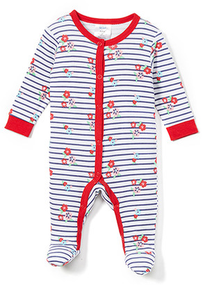 Baby Mode Girls' Footies RED - Red & White Stripe Floral Footie - Newborn & Infant
