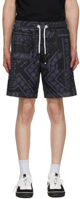 Palm Angels Black Bandana Mesh Shorts