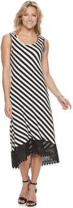 Nina Leonard Women's Striped Crochet High-Low Midi Dress