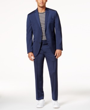 Kenneth Cole Reaction Men's Slim-Fit Navy Iridescent Ready Flex Suit
