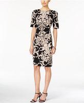 Connected Short-Sleeve Printed Sheath Dress