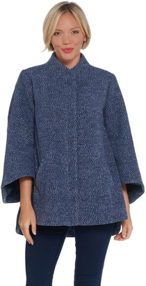 Halston H by Zip-Front Wool Cape Jacket