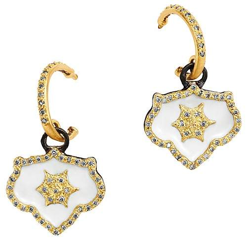 Armenta 18K Yellow Gold & Blackened Sterling Silver Old World Crivelli Champagne Diamond Shield Drop Earrings