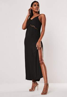 Missguided Petite Black Lace Insert Maxi Dress