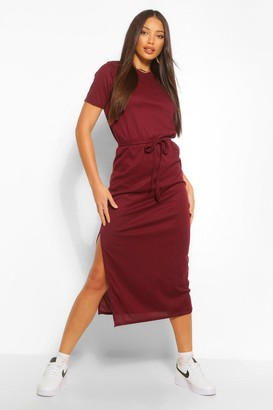 boohoo Tall Side Split Belted Rib T-Shirt Dress