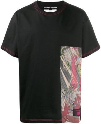 Paccbet contrasting panel crew neck T-shirt