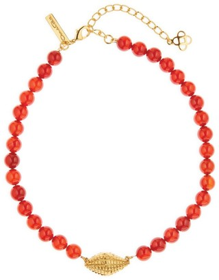 Oscar de la Renta Goldtone Shell Pendant Beaded Necklace