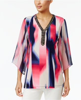 JM Collection Petite Printed Embellished Tunic, Only at Macy's