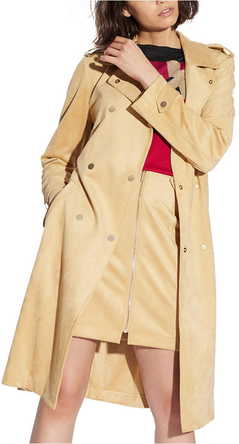 6762f853 Faux Suede Trench Coat