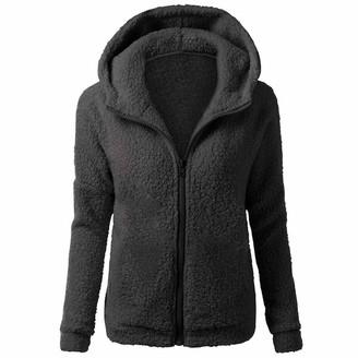 Naihen Hooded Jacket Women Ladies Casual Sweater Coat Teddy Bear Plush Hoodies Outwear Long Sleeve Zip Winter Warm Overcoat