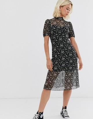 Miss Selfridge mesh midi dress in ditsy print