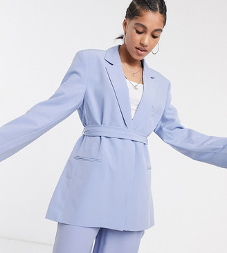 Collusion blazer with tie waist in pastel lilac