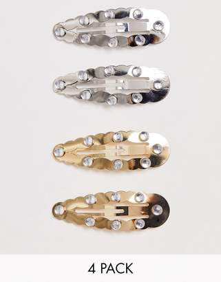 Snap Clips Asos Design ASOS DESIGN pack of 4 with bubble edge and crystal embellishment in mixed metal finish-Multi