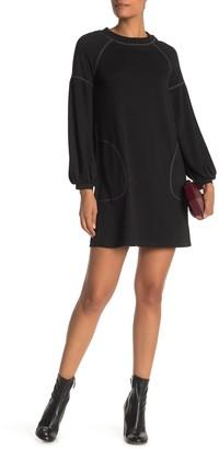 Max Studio Topstitched Puffy Sleeve Dress
