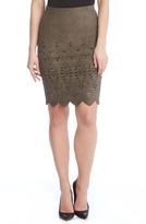 Karen Kane Women's Laser Cut Faux Suede Skirt