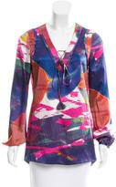 Tory Burch Lace-Up Silk Tunic