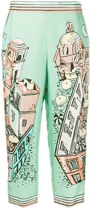 Emilio Pucci Piazzetta di Capri-print silk trousers