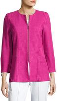 Misook Textured-Knit Tailored Jacket, Pink