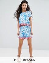 Glamorous Petite Short With Tassel Hem In Floral Print