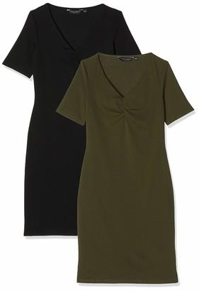 Dorothy Perkins Women's Black and Khaki Bodycon 2 Pack Dress Casual 12