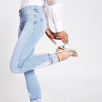 River Island Womens Light Blue Molly mid rise jeggings