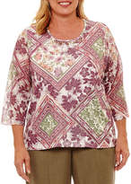 Alfred Dunner Palm Desert 3/4 Sleeve Patchwork Medallion T-Shirt- Plus