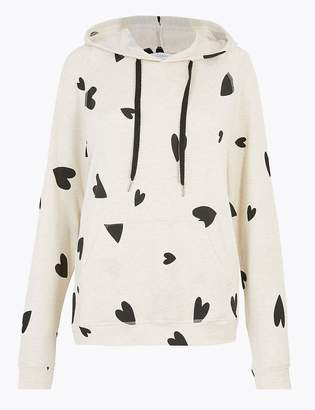 Marks and Spencer Flexifit Heart Print Hooded Lounge Top