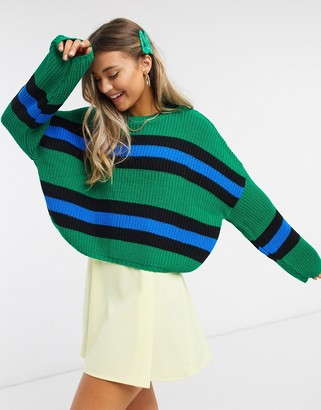 ASOS DESIGN crew neck jumper with stripes in green