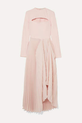 A.W.A.K.E. Mode Sea Shell Cutout Crepe And Pleated Chiffon Maxi Dress - Pink