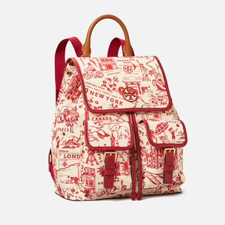 Tory Burch Women's Perry Nylon Printed Flap Backpack - Red Destination