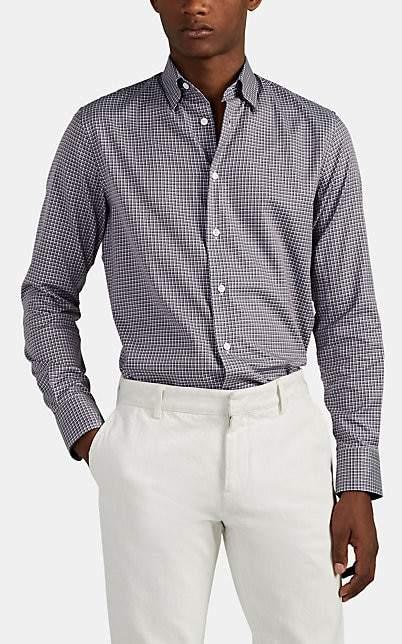 Brioni Men's Plaid Cotton Button-Down Shirt - Purple Pat
