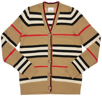 Burberry Striped Wool & Cashmere Knit Cardigan
