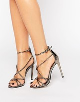 Office Spindle Pewter Metallic Strappy Heeled Sandals