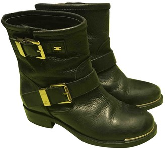 Elisabetta Franchi Black Leather Ankle boots