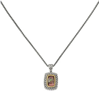 """Sterling & 14K Black Mother-of-Pearl Pendant with 18"""" Chain"""