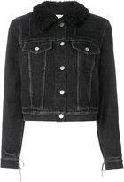 3.1 Phillip Lim Denim jacket with sherpa collar - women - Cotton/Acrylic/Polyester/Viscose - 2