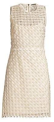 Elie Tahari Women's Rosaleen Embroidered Basket Weave Dress