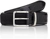 Barneys New York Men's Croc-Stamped Leather & Suede Belt-BLACK