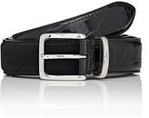 Barneys New York Men's Croc-Stamped Leather & Suede Belt