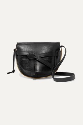 Loewe Gate Medium Smooth And Lizard-effect Leather Shoulder Bag - Black