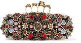 Alexander McQueen Knuckle Embellished Satin Box Clutch