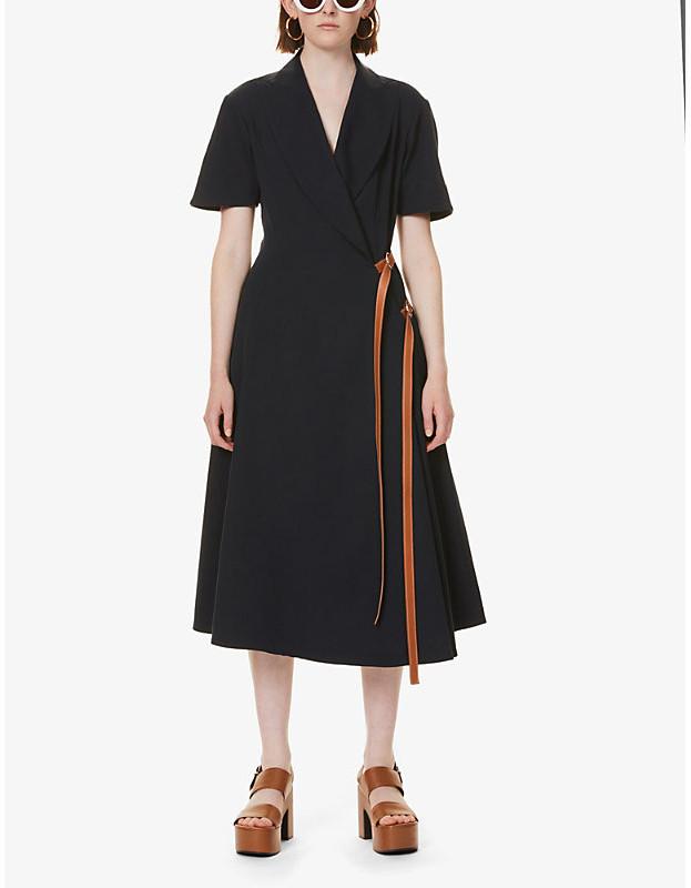 Loewe Peak-lapel wool maxi dress