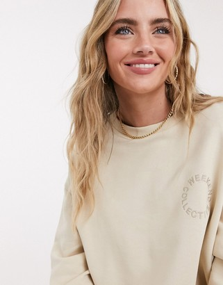 ASOS DESIGN Weekend Collective sweatshirt with embroidered logo in stone
