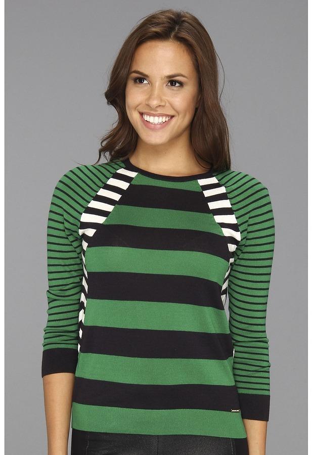 MICHAEL Michael Kors Stripe Panel 3/4 Sleeve Sweater (Navy) - Apparel