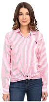 U.S. Polo Assn. Classic Button Front Poplin Striped Woven Shirt