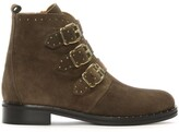 Thumbnail for your product : Daniel Nibble Taupe Suede Studded Biker Boots